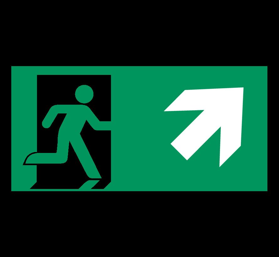 Nooduitgang naar rechts boven pictogram
