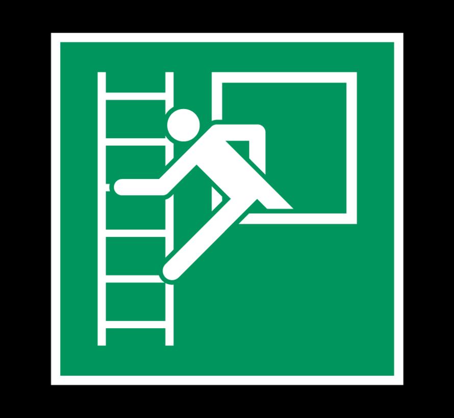 Noodvenster met vluchtladder pictogram