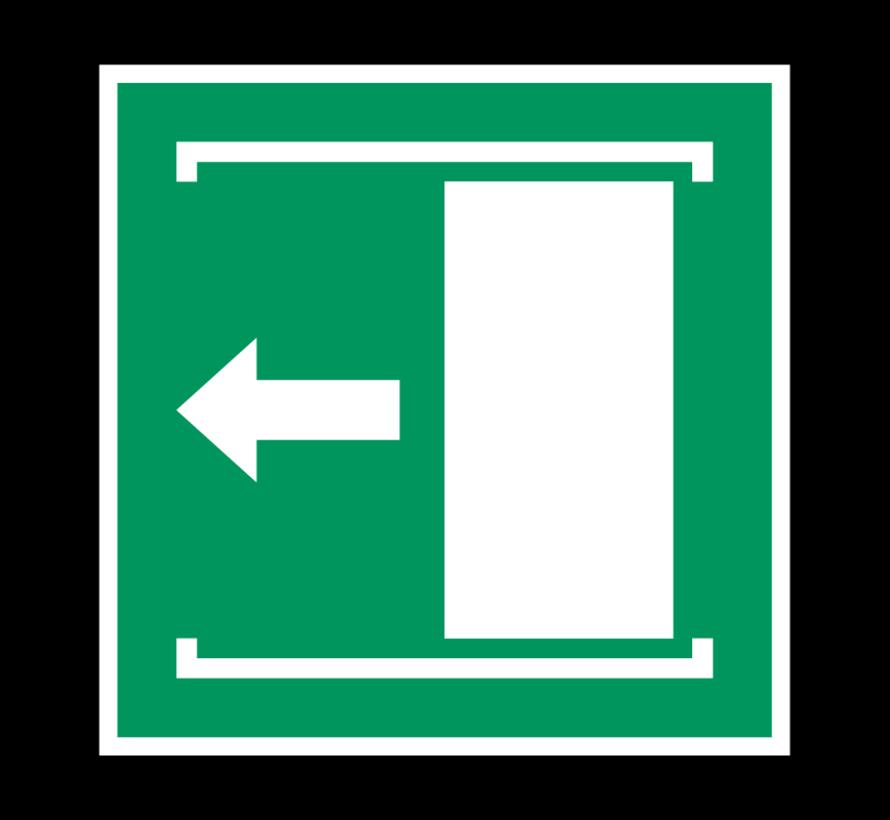 Deur naar links schuiven om te openen pictogram