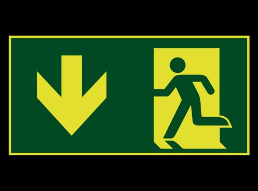ARBO centrum Nooduitgang naar beneden lichtgevend