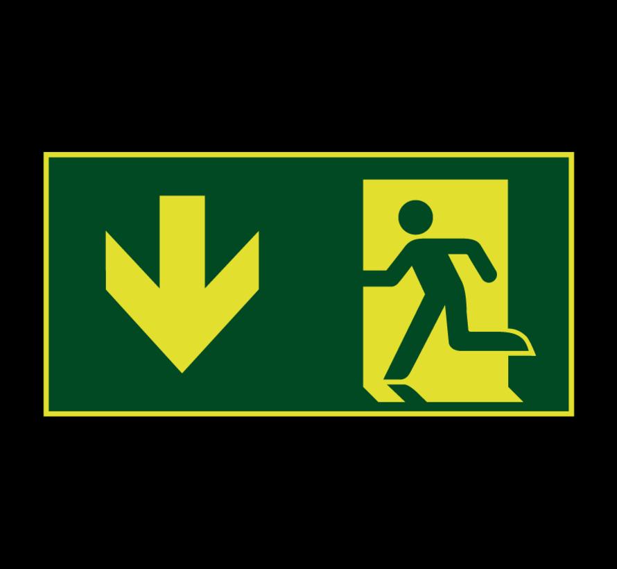 Nooduitgang naar beneden lichtgevend pictogram