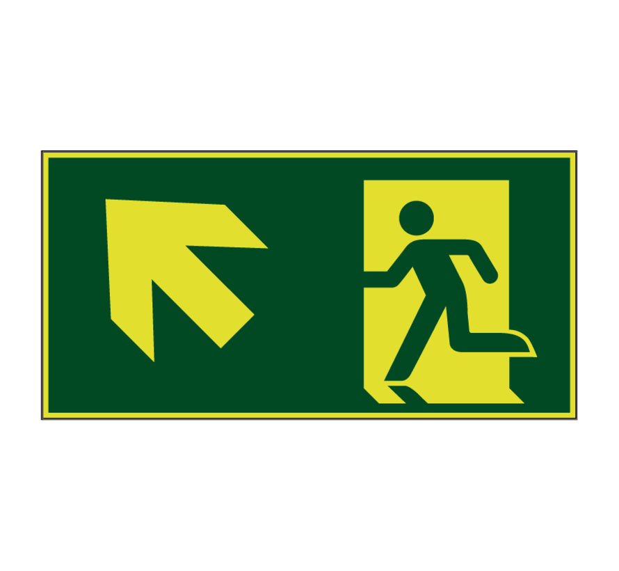 Nooduitgang naar links boven lichtgevend pictogram