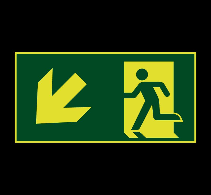 Nooduitgang naar links onder lichtgevend pictogram