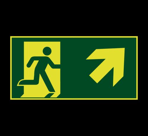 ARBO centrum Nooduitgang naar rechts boven lichtgevend pictogram
