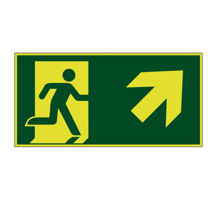 Nooduitgang naar rechts boven lichtgevend pictogram