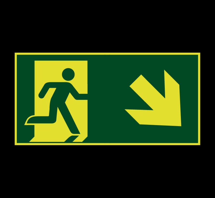Nooduitgang naar rechts onder lichtgevend pictogram