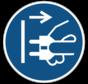 Voor het openen stekker uit stopcontact trekken gebodspictogram
