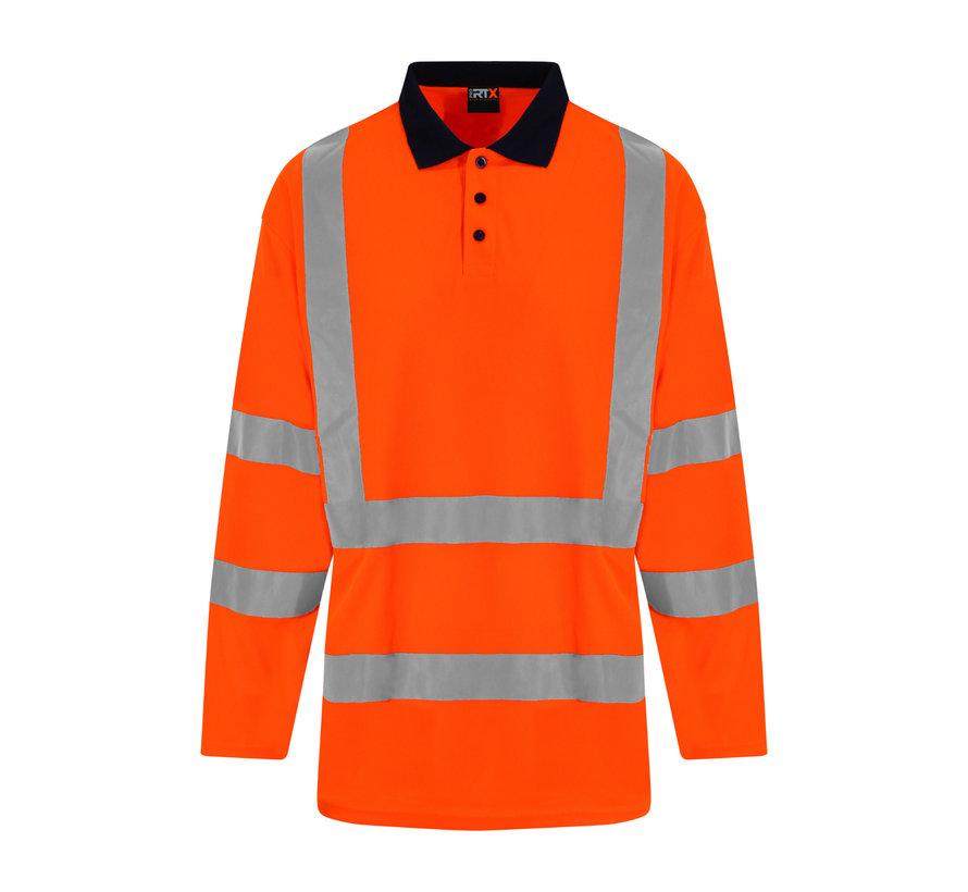 Veiligheids polo lange mouwen oranje