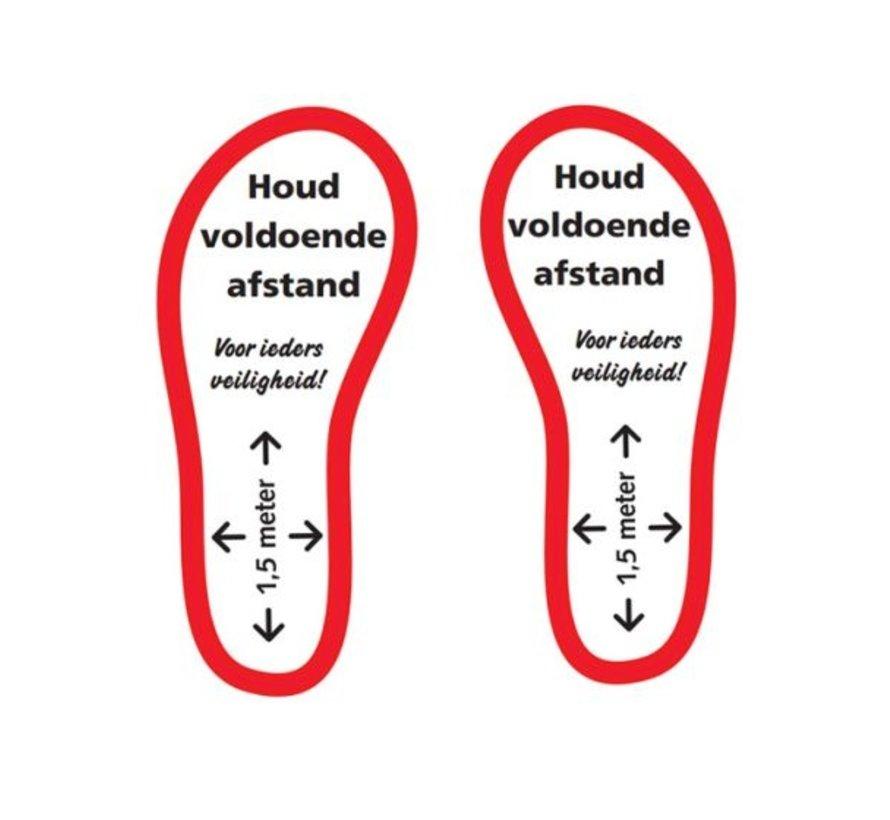 Houd voldoende afstand schoenen rood
