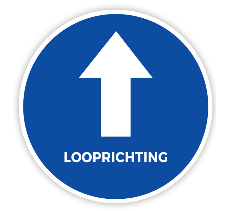 Vloersticker looprichting tekst