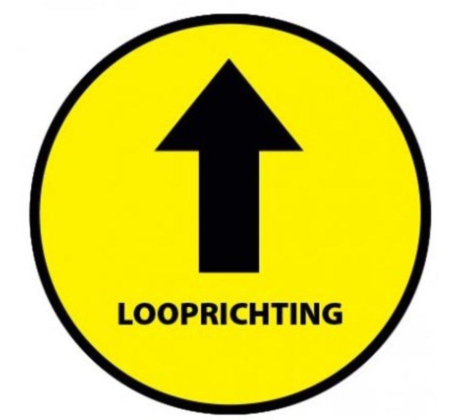 Vloersticker looprichting tekst geel