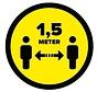 Houd 1,5 meter afstand geel