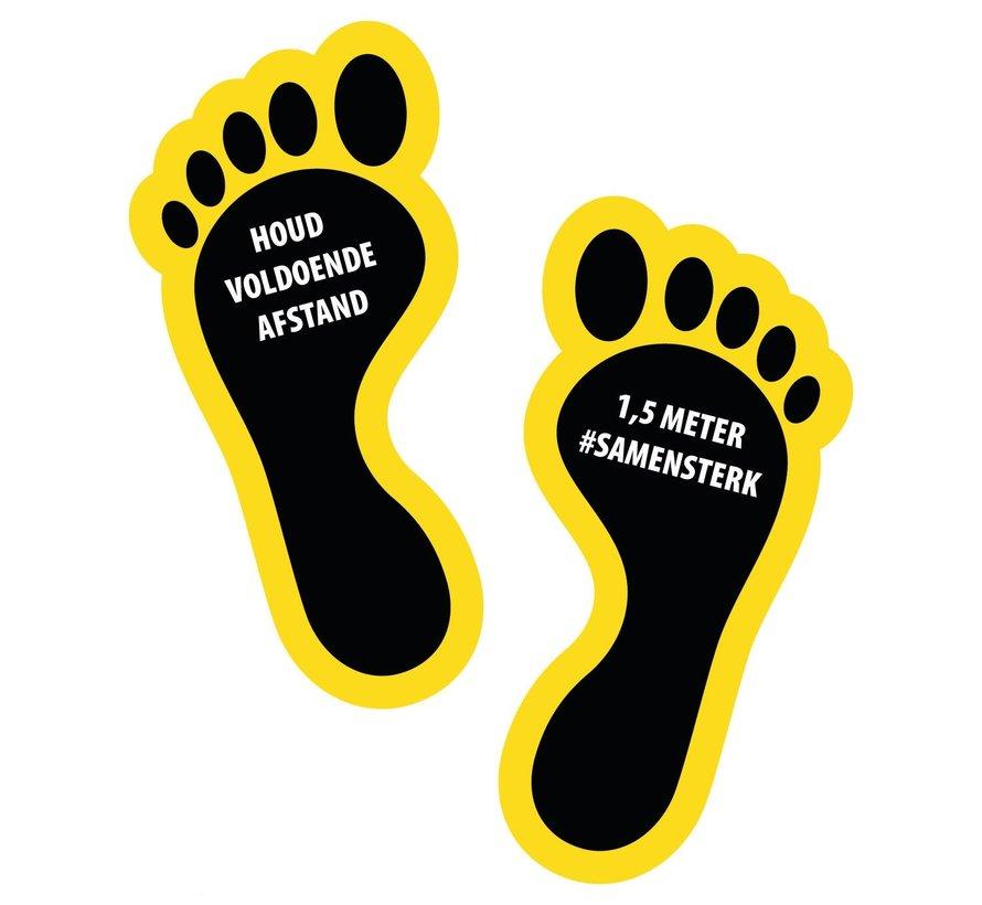 Houd 1,5 meter afstand voeten
