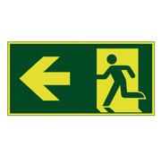 Nooduitgang naar links lichtgevend