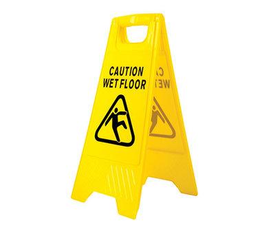 Waarschuwingsbord voor een natte vloer