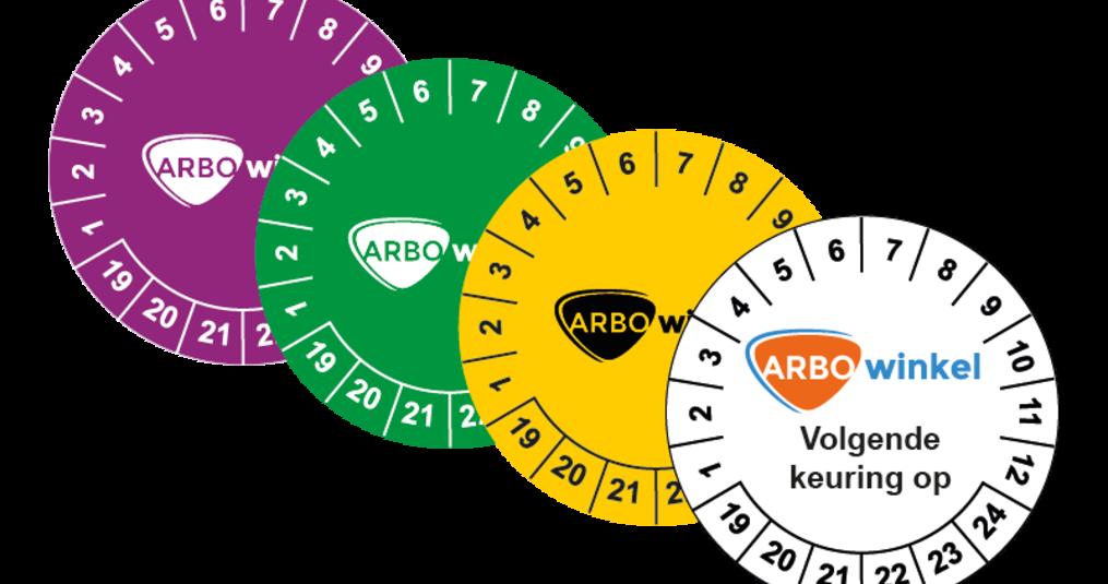 Keuringsstickers met eigen logo vind je bij ARBO winkel