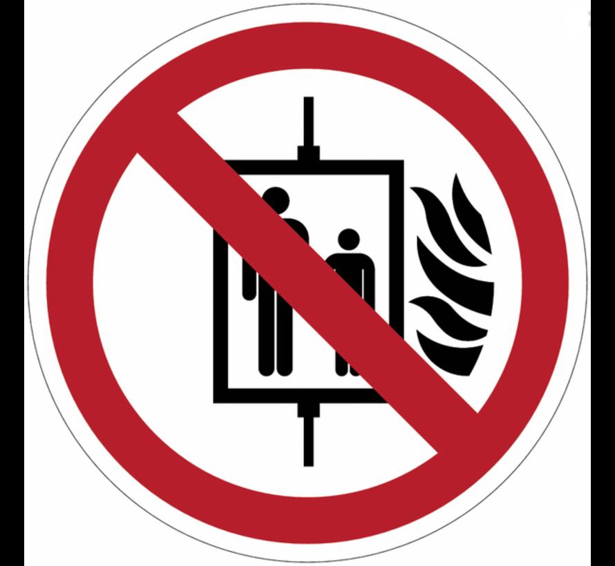 Verboden de lift te gebruiken bij brand pictogram