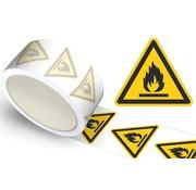 Waarschuwingssticker ontvlambare stoffen, op rol