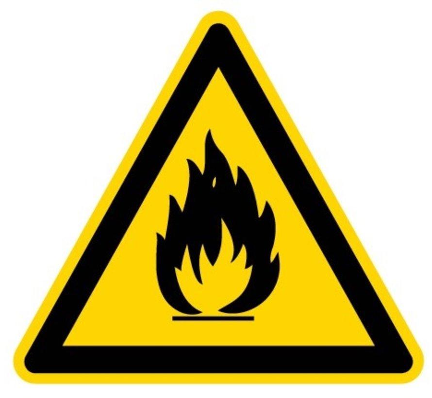 Waarschuwingssticker ntvlambare stoffen, op rol