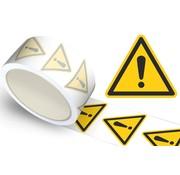 Waarschuwingssticker algemene waarschuwing, op rol
