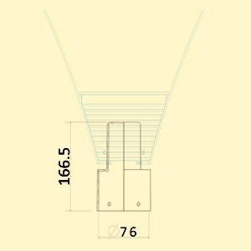 Olest Aluminium verloop stuk 76-60mm incl. inbusbouten in RAL 7016 (voor lichtere armaturen)
