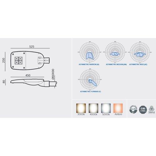 Olest-Novatilu Milan-S 7-24W Multi-wattage LED straatverlichting, 910-3150 lumen met bewegingssensor on/off of on/DIM (corridorfunctie)