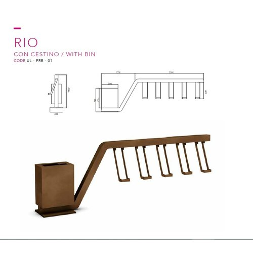 Olest-The Italian Lab Fietsenrek RIO mat afvalbak