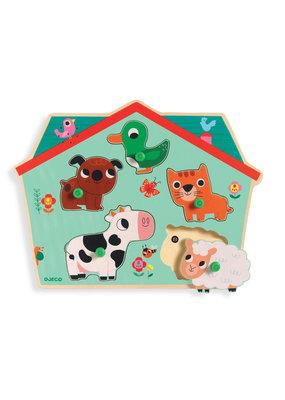 Djeco Djeco houten dieren puzzel met geluid