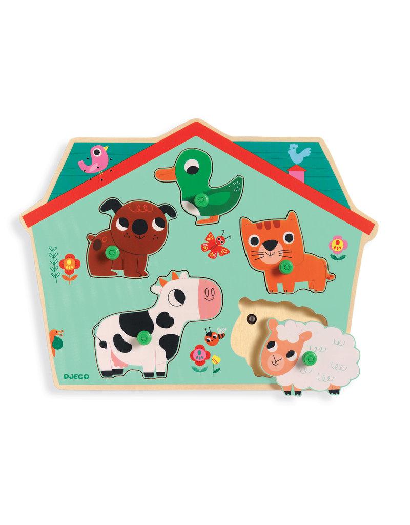 Djeco Djeco houten dieren puzzel met geluid dj01707