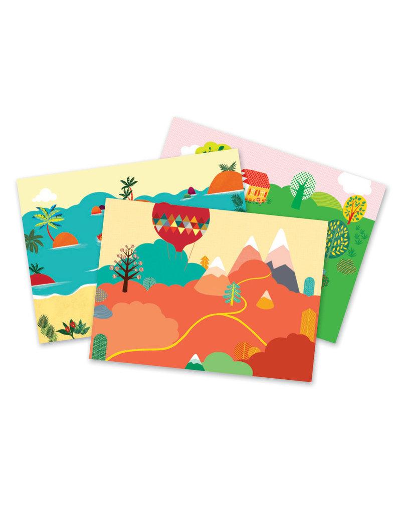Djeco Djeco  kraskaarten Zee bergen platteland dj09562