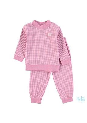 Feetje Feetje wafel pyjama roze melange