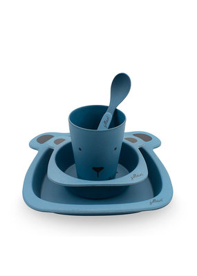 Jollein Jollein dinerset bamboe animal club steel blue