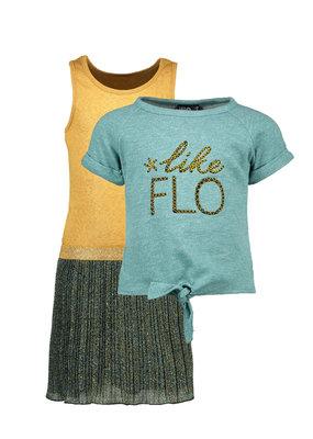 Like Flo Like Flo dress 2 pc lurex plisse with sweat melee top ocean
