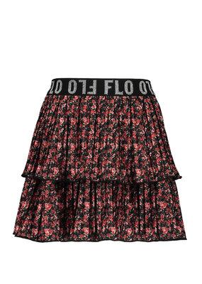 Like Flo Like Flo skirt shiny jersey plisse 2 layer flower