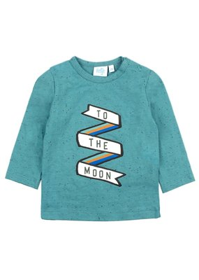 Feetje Feetje longsleeve to the moon jade groen Spacelab