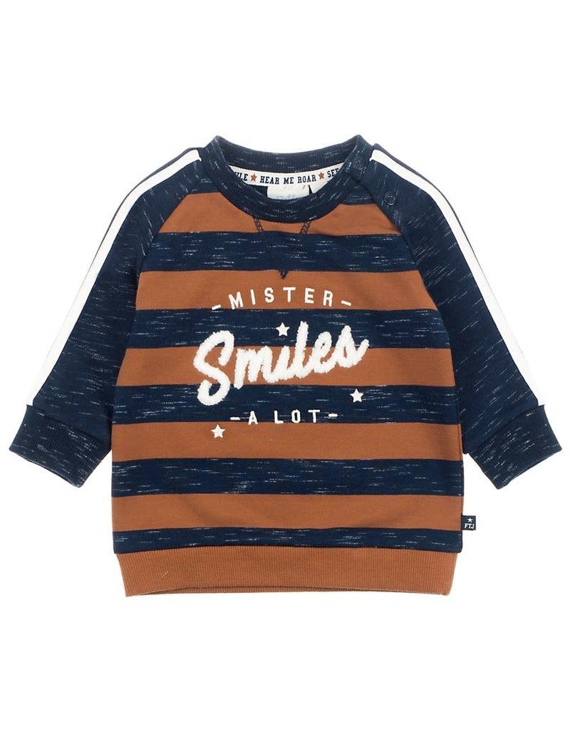 Feetje Feetje sweater mister smiles marine melange Smile & Roar