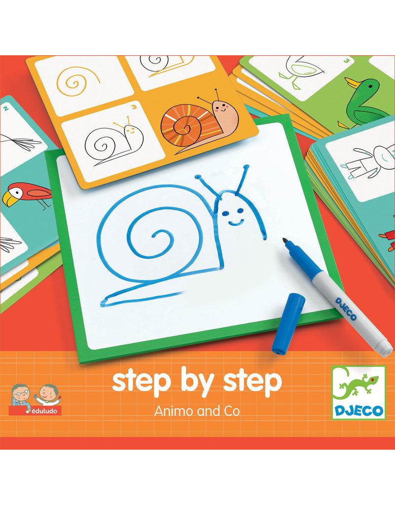 Djeco Djeco step by step tekenkaarten Animo dj08319