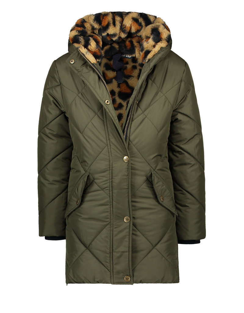 Like Flo Like Flo long hooded jacket, check quilting army