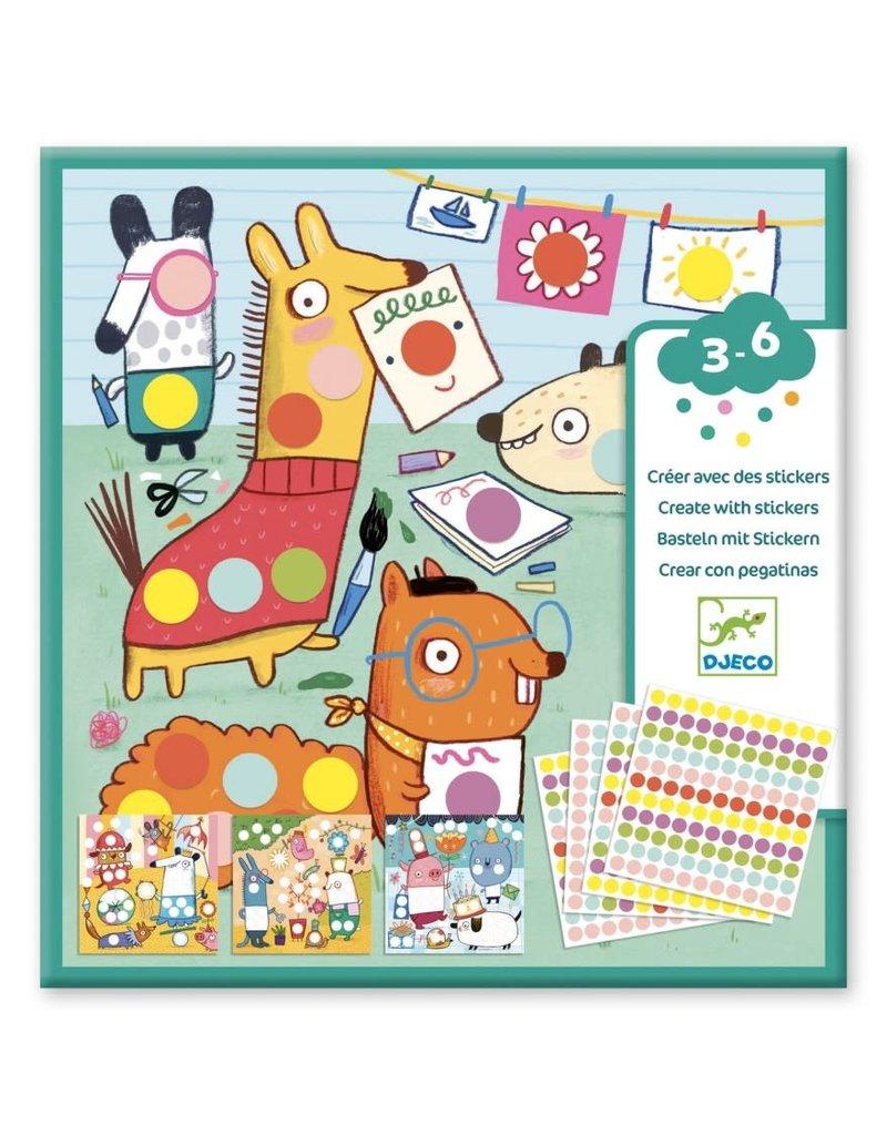Djeco Djeco Knutselset Creëren met stickers Dieren dj09044