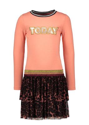 Like Flo Like Flo jersey longsleeve jurk AO mesh rok old pink