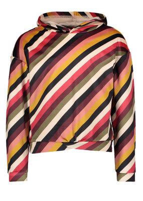 Like Flo Like Flo velvet hooded sweater stripe