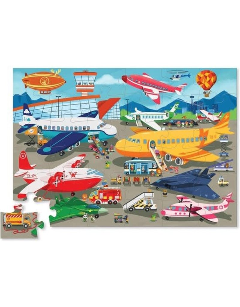 Crocodile Creek Shaped Puzzel Busy Airport 36pc