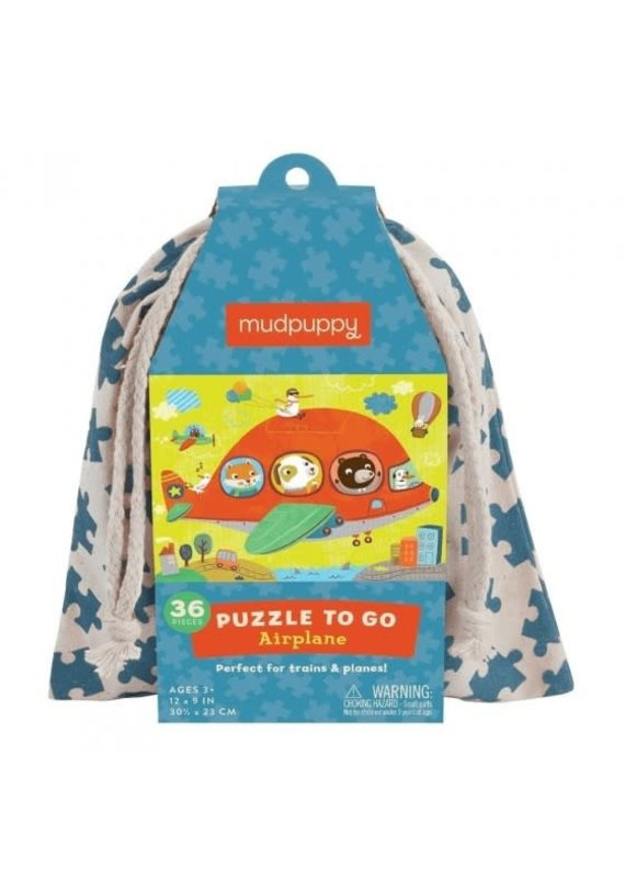 Mudpuppy Puzzel To Go Airplane 36pc