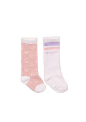 Koko Noko Koko Noko knee socks 2-pack pink + white a