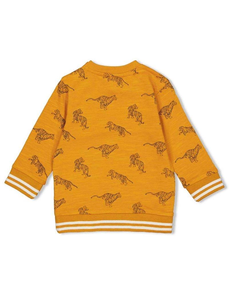 Feetje Feetje sweater AOP Happy Camper okergeel