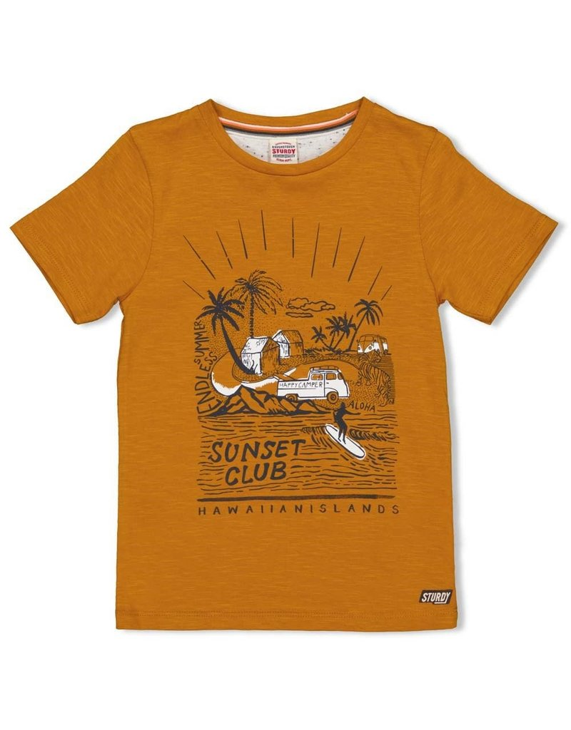 Sturdy Sturdy shirt Happy Camper okergeel