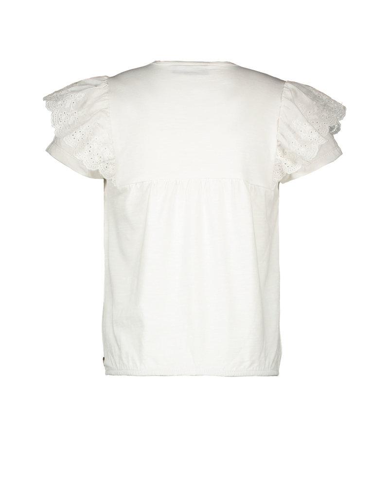 Like Flo Like Flo girls jersey broidery anglais ruffle top off white