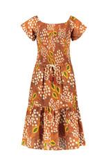 Like Flo Like Flo girls AO woven smock maxi dress cognac papaya