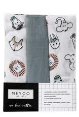 Meyco Meyco hydrofiel luier 3pck Stone green animal
