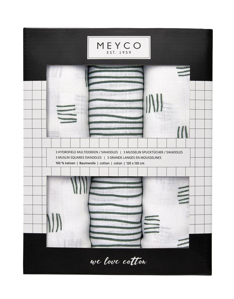 Meyco Meyco hydrofiel swaddles 3pck Block stripe forest green